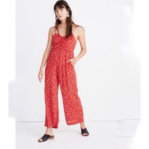 Madewell Red Floral Prairie Paisley Wide Leg